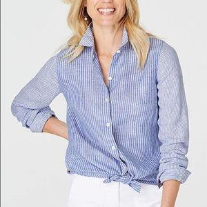 J.Jill Linen Blue Striped Essential Shirt Tunic